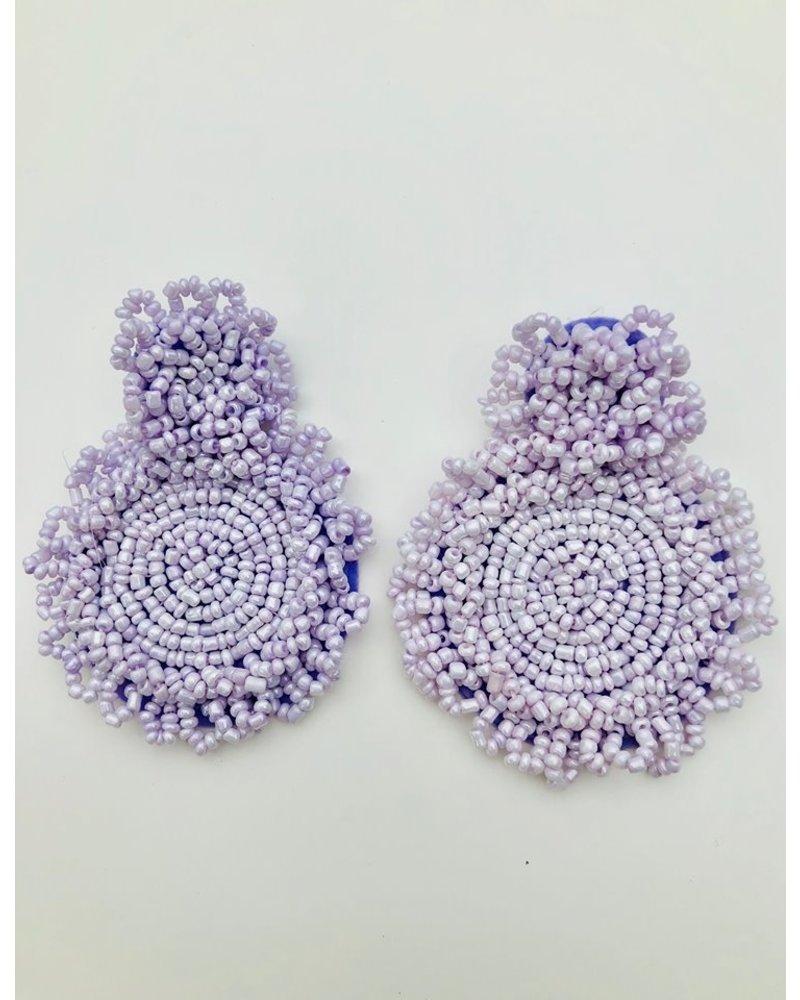 Round Bead Earrings - Lavender