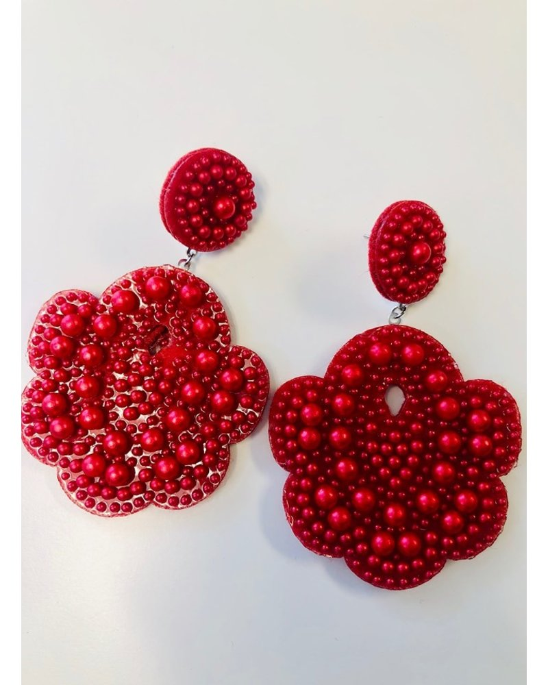 Statement Bead Earrings - Red