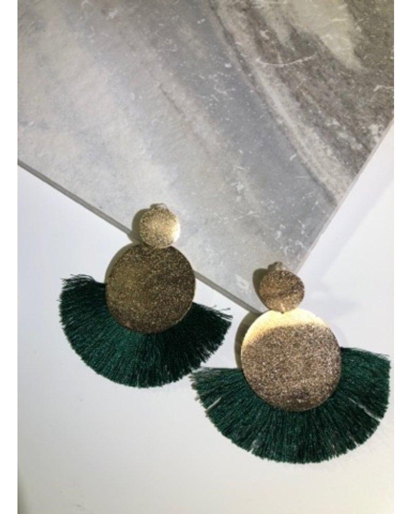 Round Drop Fringe Earrings - Green