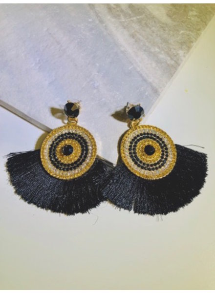 Crystal and Fringe Earrings - Black