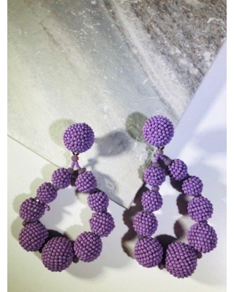 Bead Ball Drop Earrings - Lavender