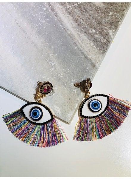 Fringe Eye Earrings - Multi
