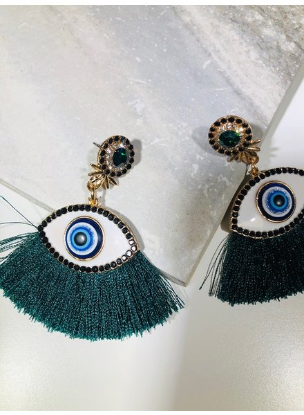 Fringe Eye Earrings - Green