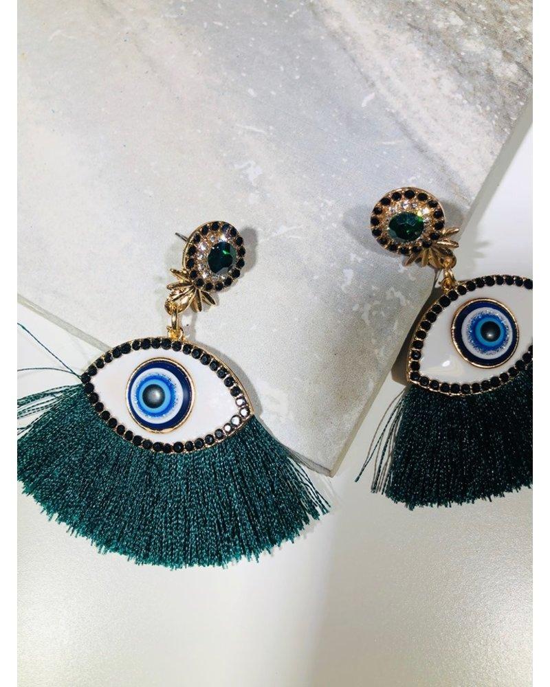 Fringe Eye Earrings - Green