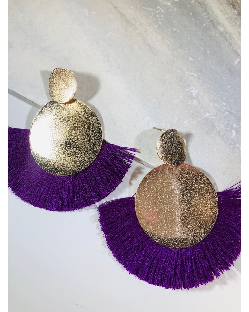 Round Drop Fringe Earrings - Purple