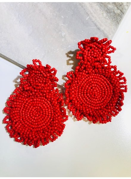 Round Bead Earrings - Red