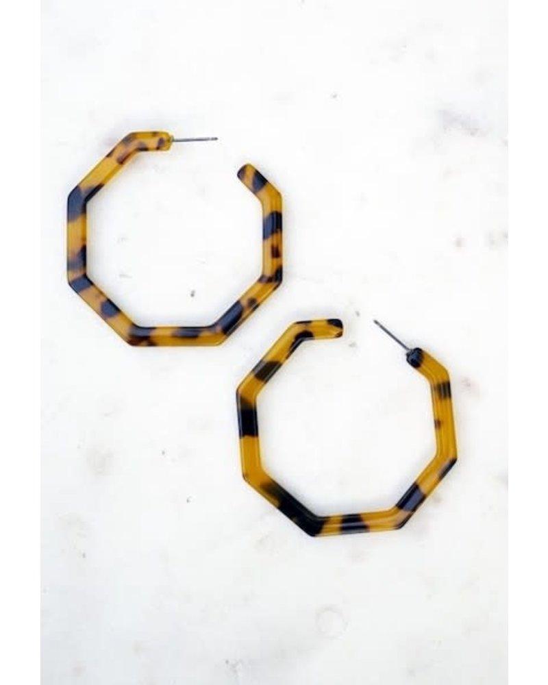 Hexagon Tortoise Hoop Earrings