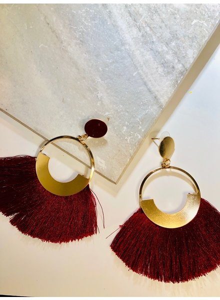 Circle Fringe Earrings - Burgundy