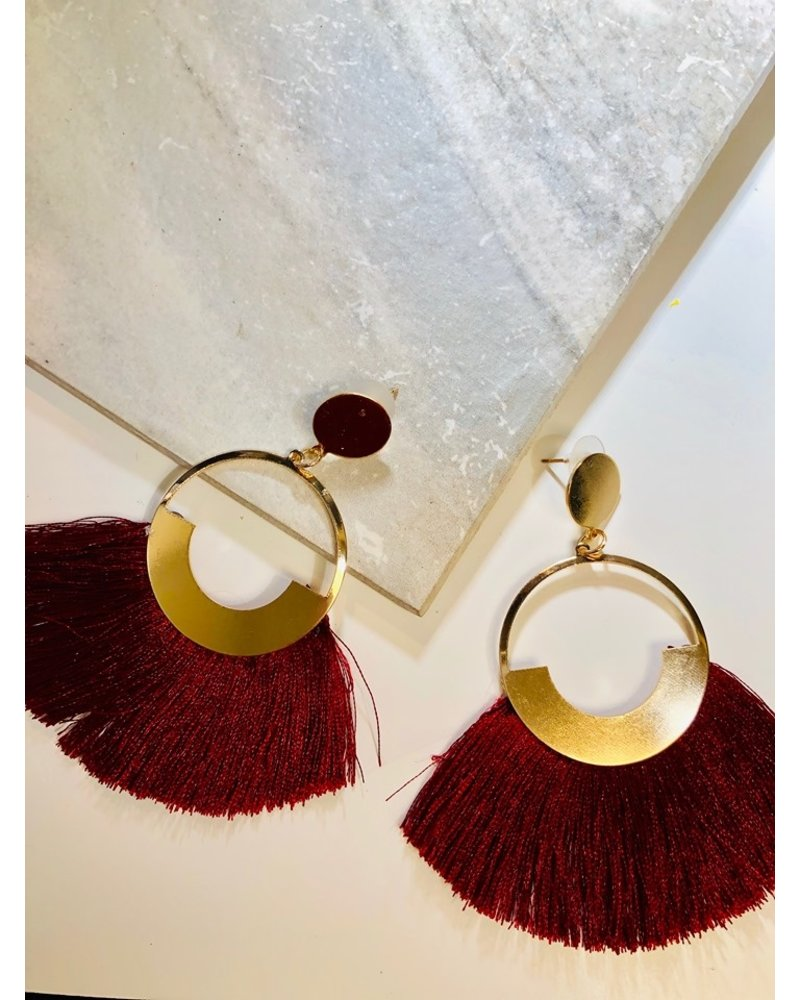 Circle Fringe Earrings - Burgundy