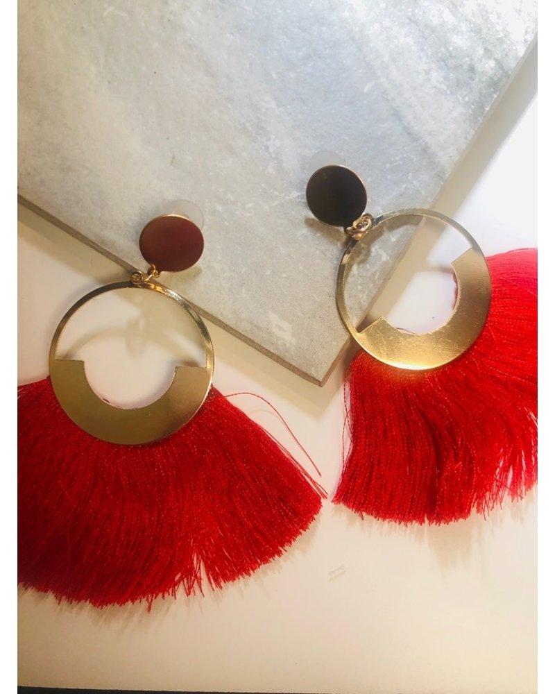 Circle Fringe Earrings - Red