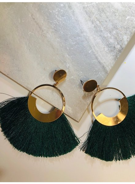 Circle Fringe Earrings - Green