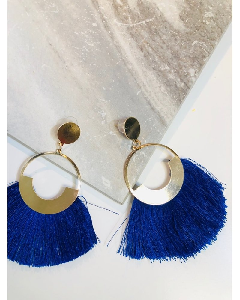 Circle Fringe Earrings - Royal