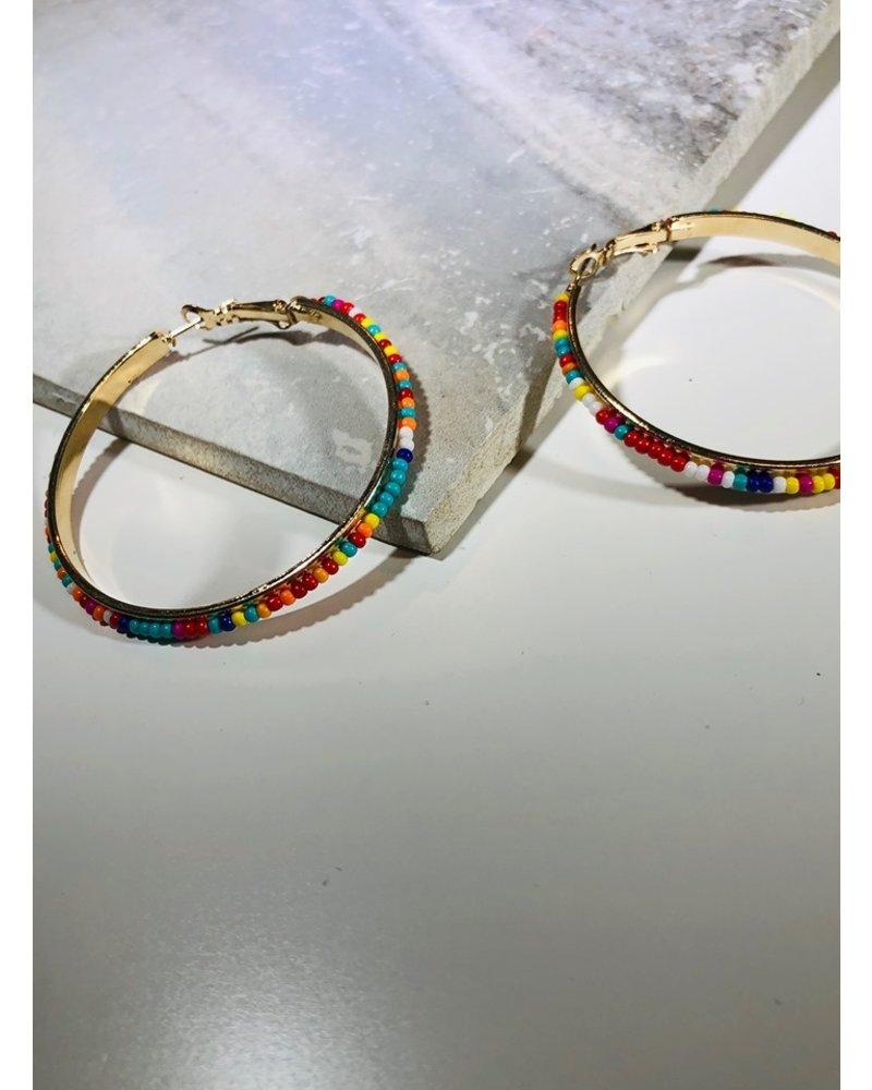 Bead Hoop Earrings - Multi