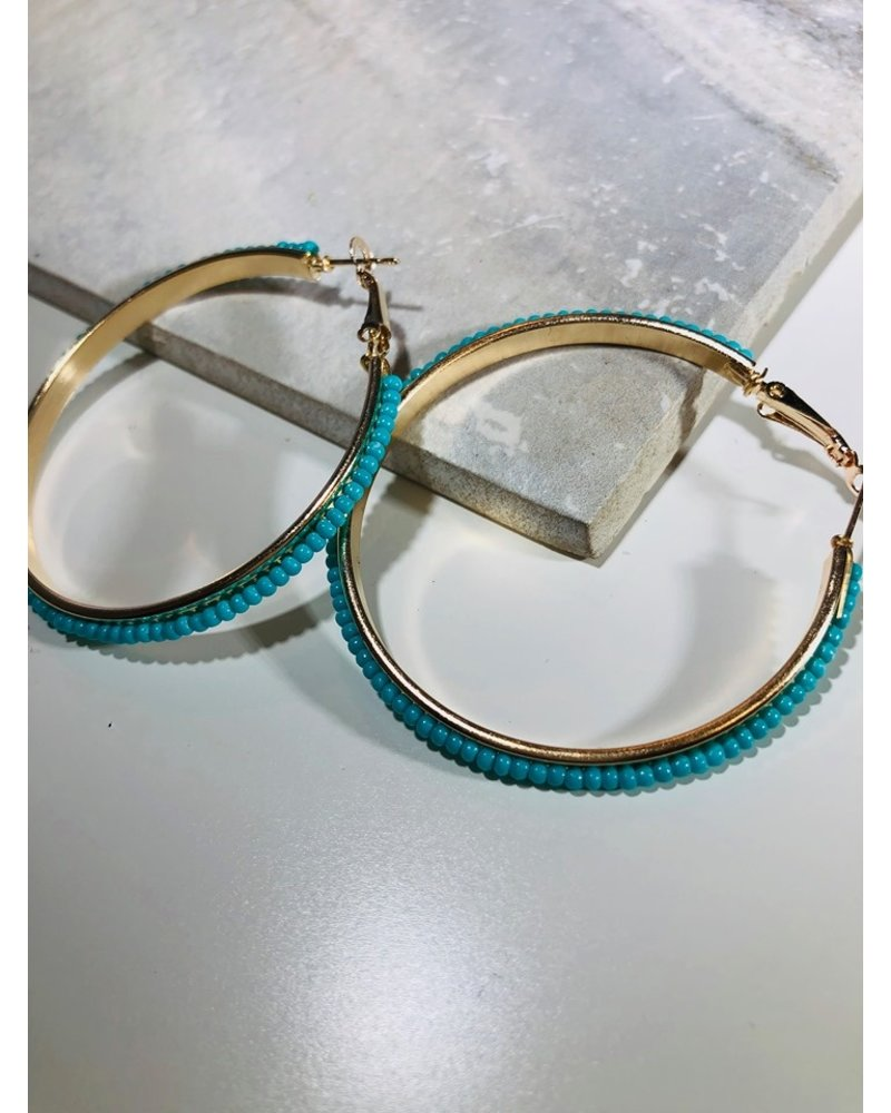 Bead Hoop Earrings - Turqouis
