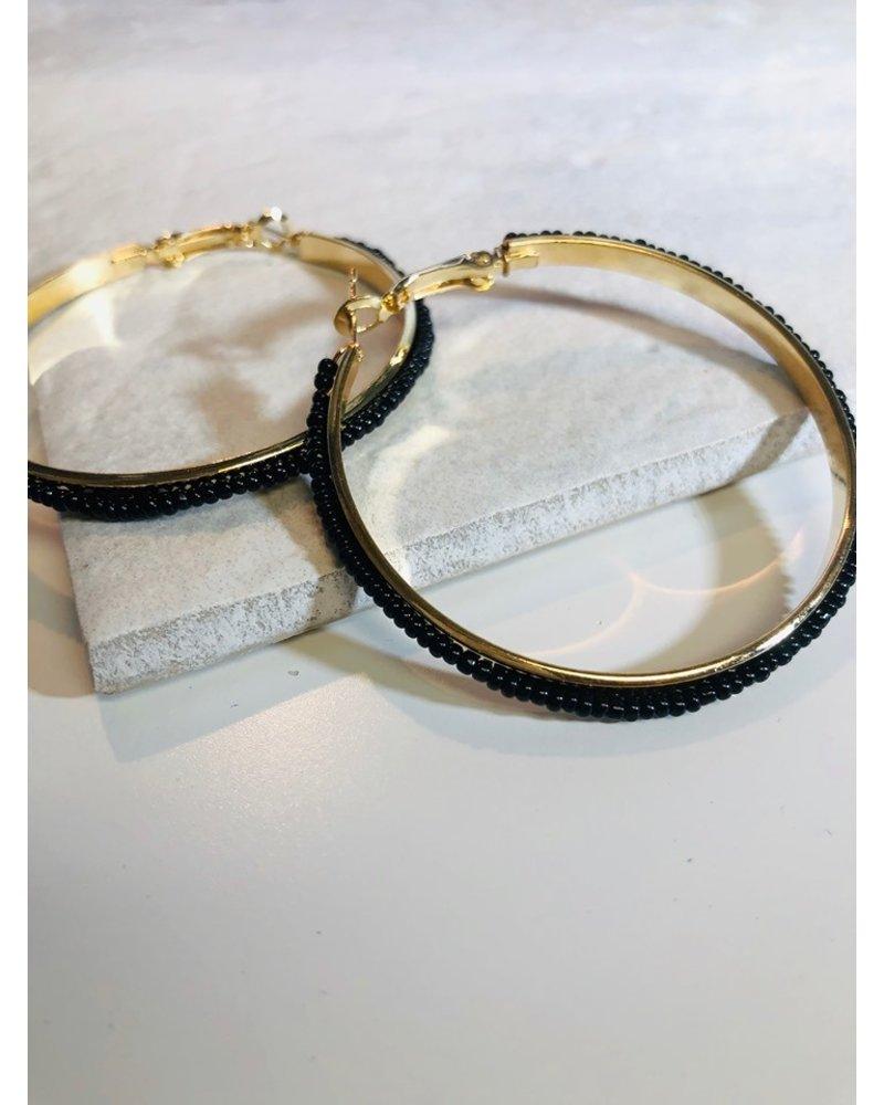 Bead Hoop Earrings - Black