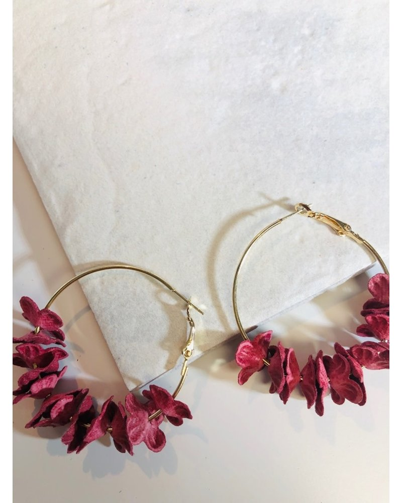 Flower Hoop Earrings - Red