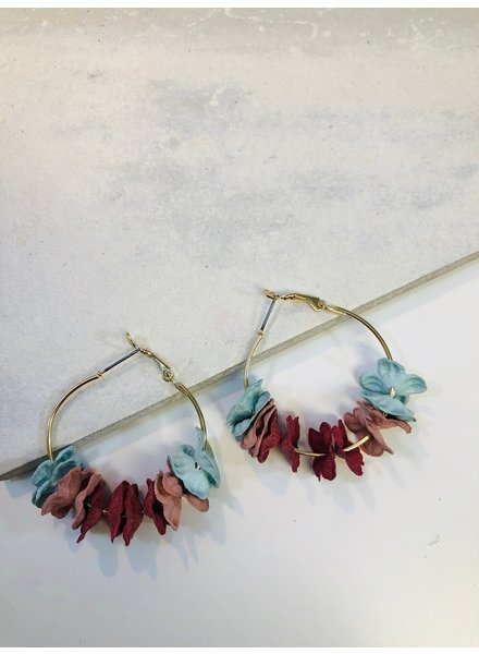 Flower Hoop Earrings - Multi