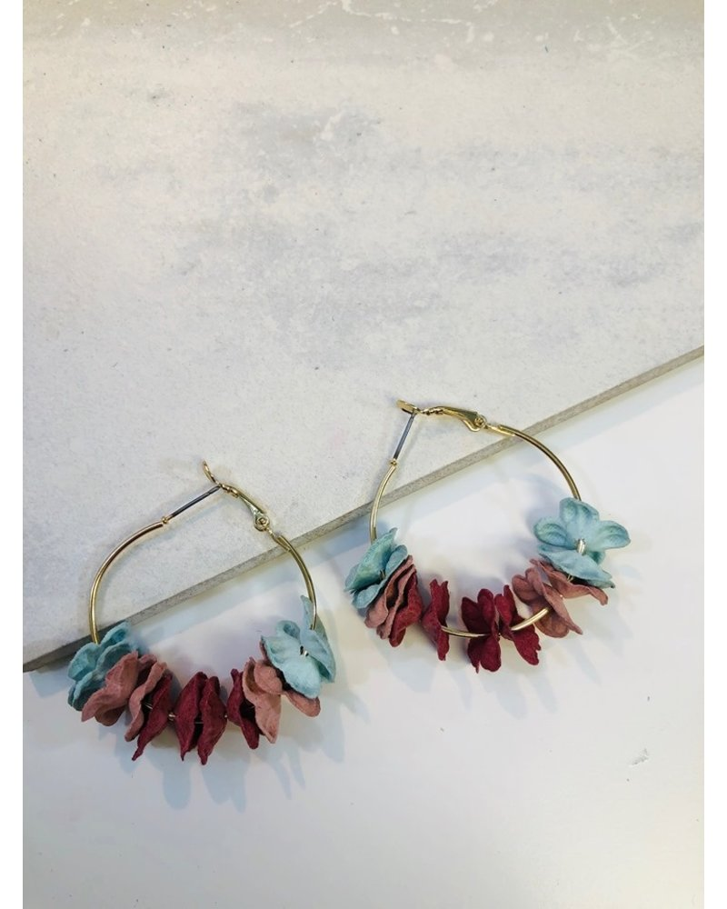 Flower Hoop Earrings - Multi