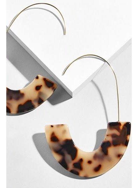 Acrylic Hoop Earrings - Brown