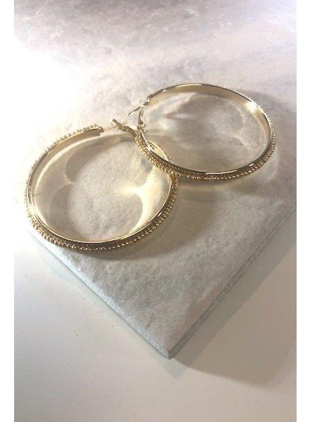 Bead Hoop Earrings - Gold