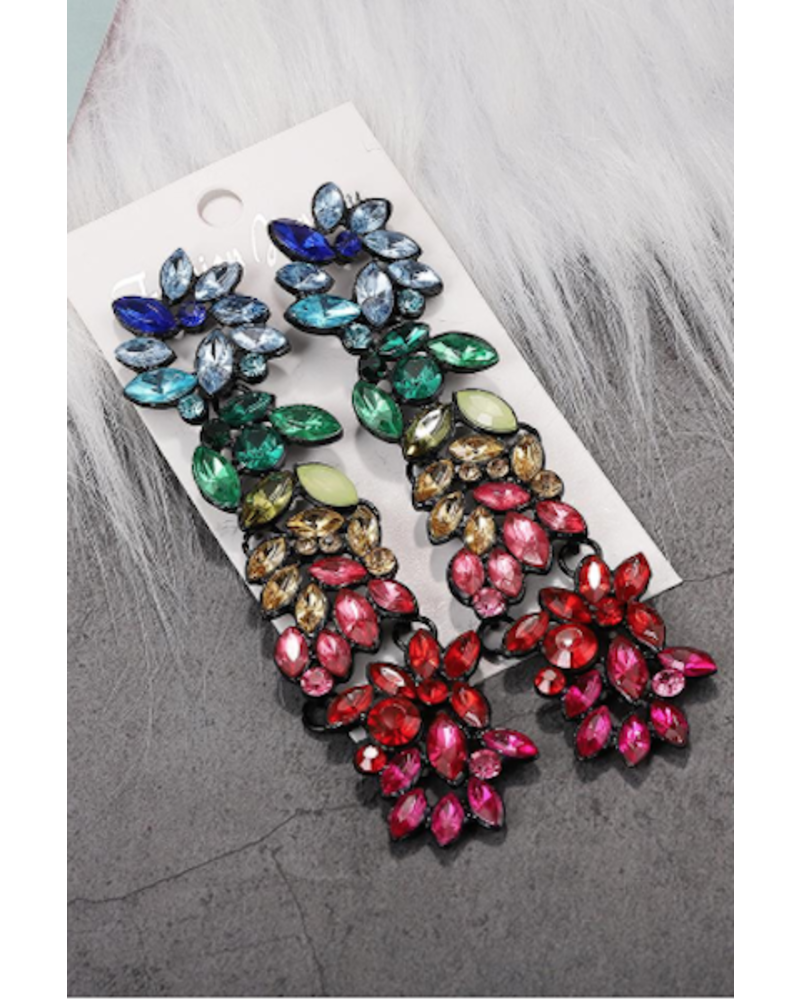 Rainbow Rhinestone Drop Earrings