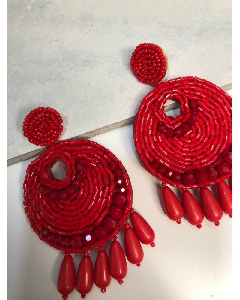 Bead Earrings - Red