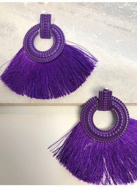Purple Fringe Earrings