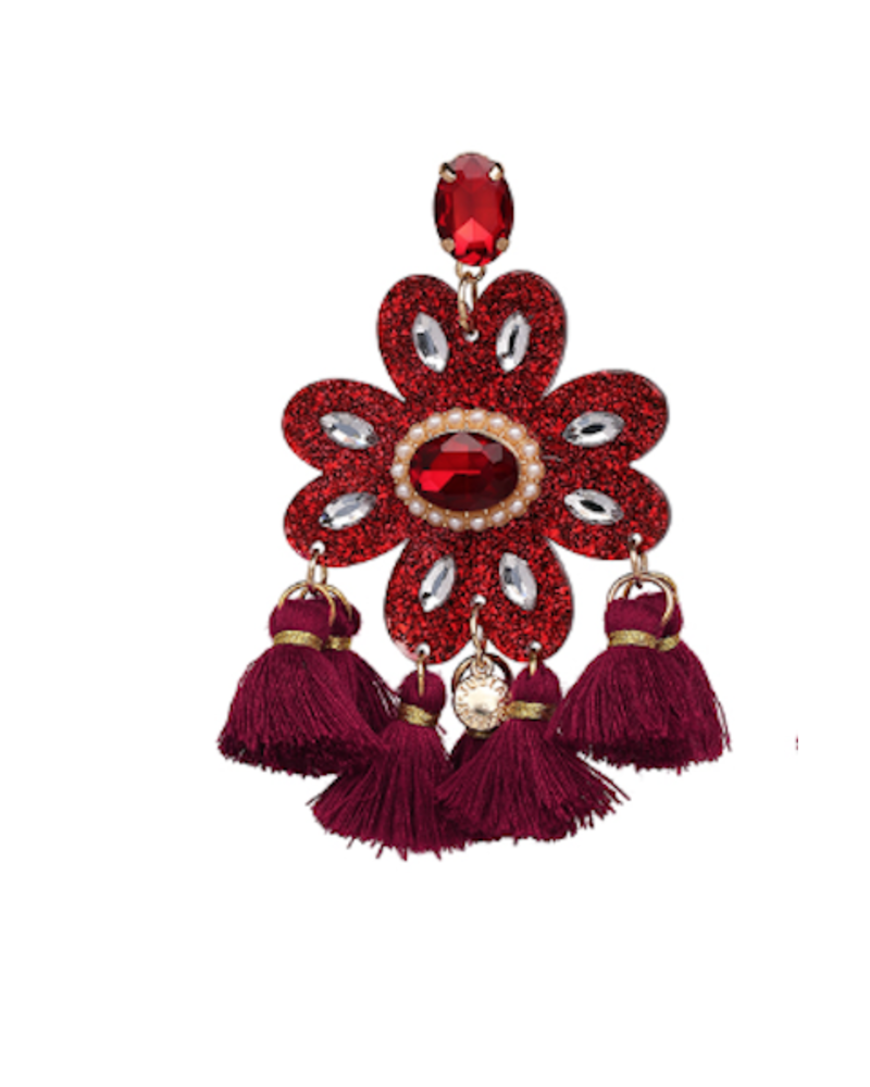 Crystal Tassel Earrings - Red