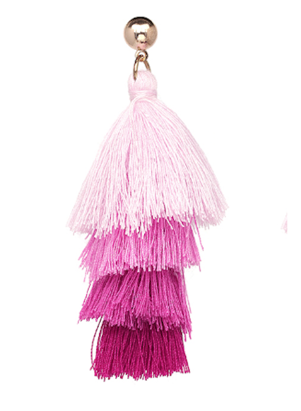 Four Tassel Drop Earrings - Pink