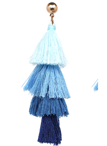 Four Tassel Drop Earrings - Blue