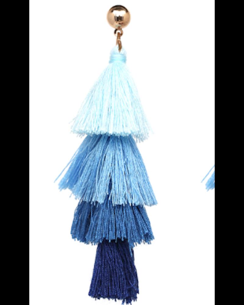 Four Tassel Drop Earrings - Blue