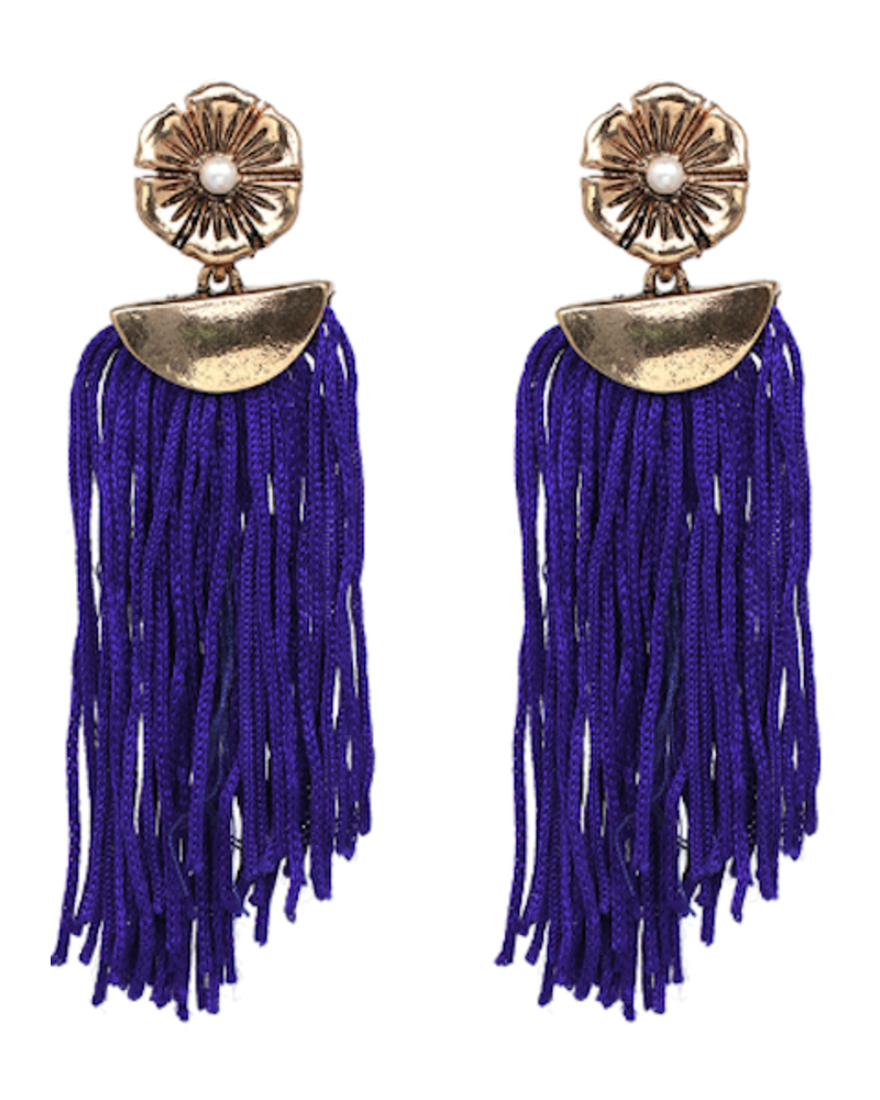 Flower Drop Tassel Earrings - Blue