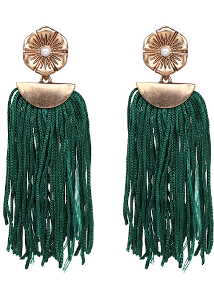 Flower Drop Tassel Earrings - Green