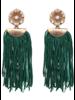 Flower Drop Tassel Earrings - Green