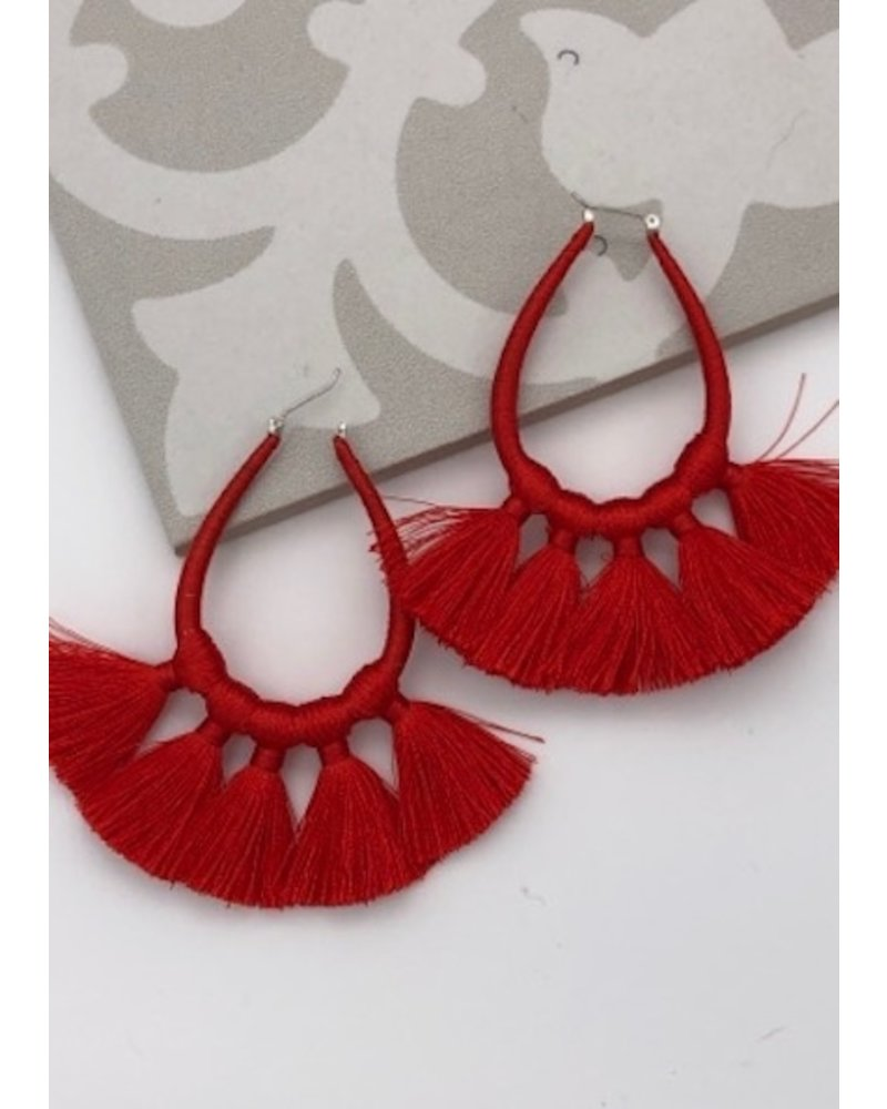 Tassel Earrings - Red