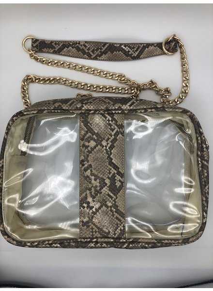 yipsy Clear Python Handbag - Brown