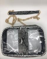 Clear Python Handbag - Black