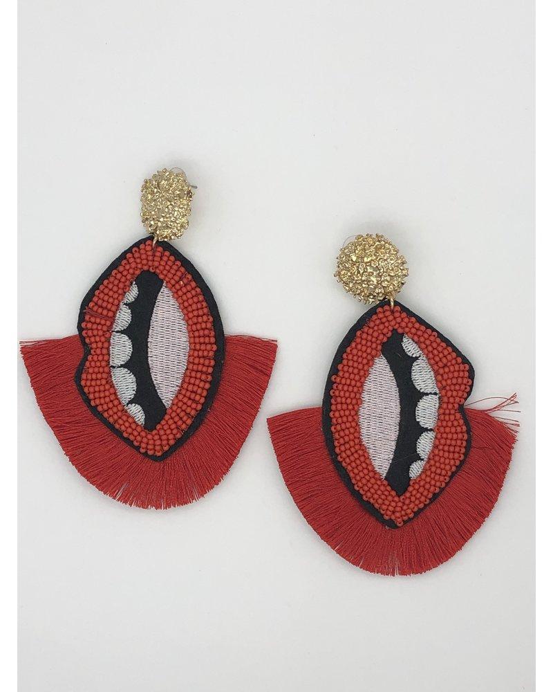 Bead Lip Earrings