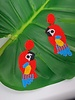 Bead Parrot Earrings - Red