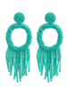 Bead Tassel Hoop Earrings - Aqua