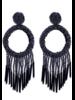 Bead Tassel Hoop Earrings - Black