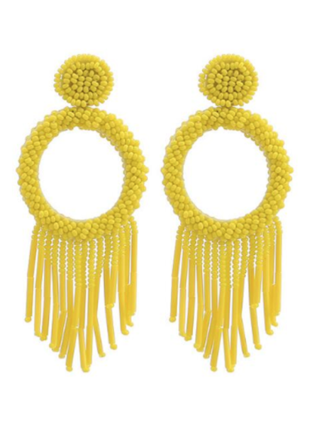 Bead Tassel Hoop  Earrings - Yellow