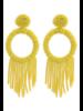 Bead Tassel Hoop Earrings - Yellow