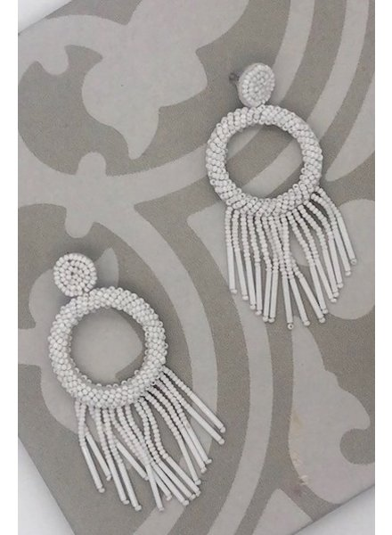 Bead Tassel Hoop Earrings - White