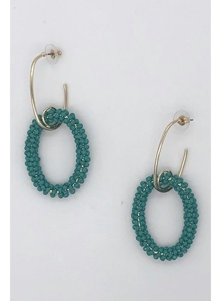 Drop Bead Hoop Earrings - Green