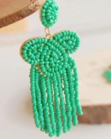 Bead Tassel Earrings - Aqua