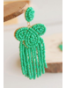 Bead Tassel Earrings - Aqua