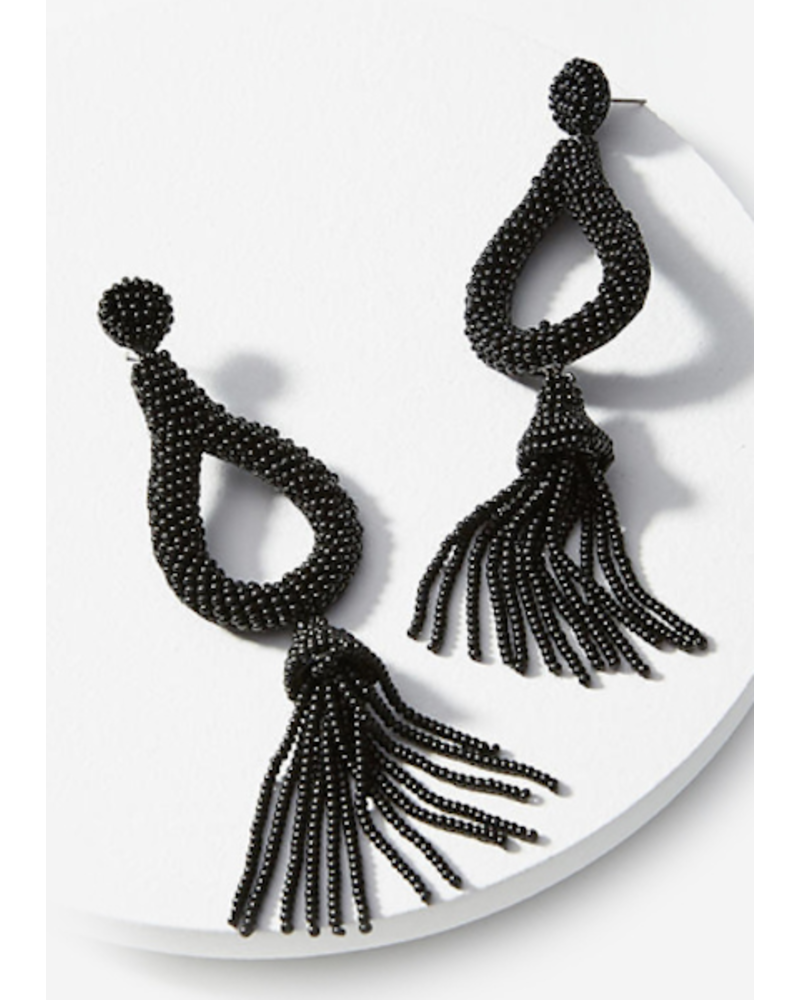 Teardrop Bead Tassel Earrings - Black