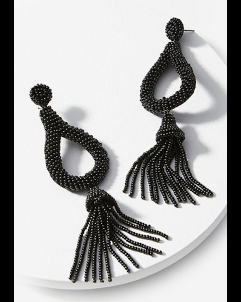 Teardrop Bead Tassel Earrings - Black