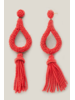 Teardrop Bead Tassel Earrings  - Red